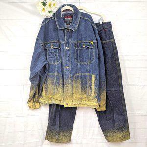 VTG FUBU Limited Collection Denim Jacket Pants Set